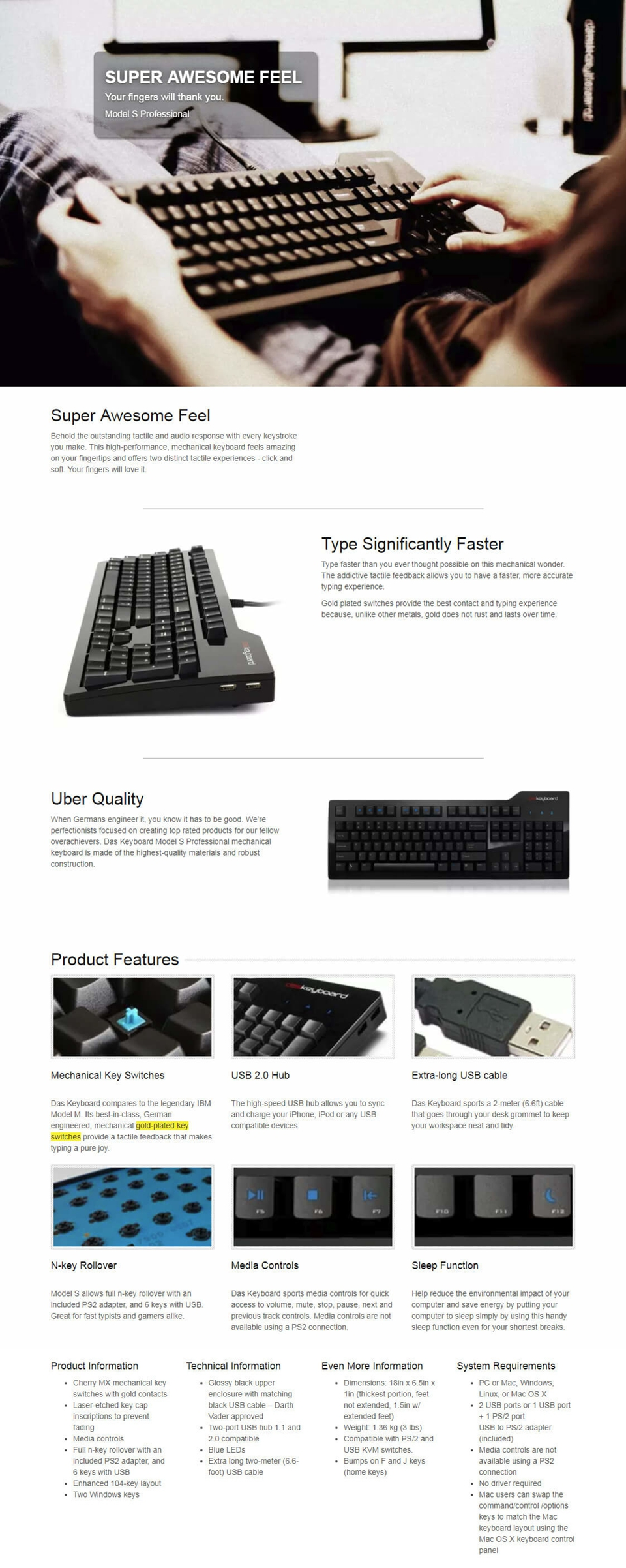 Das Professional Model S Clicky - Blue Mechanical Keyboard
